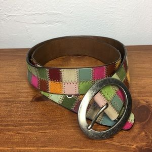 Fossil Multicolor Patchwork Quilted Leather Belt M